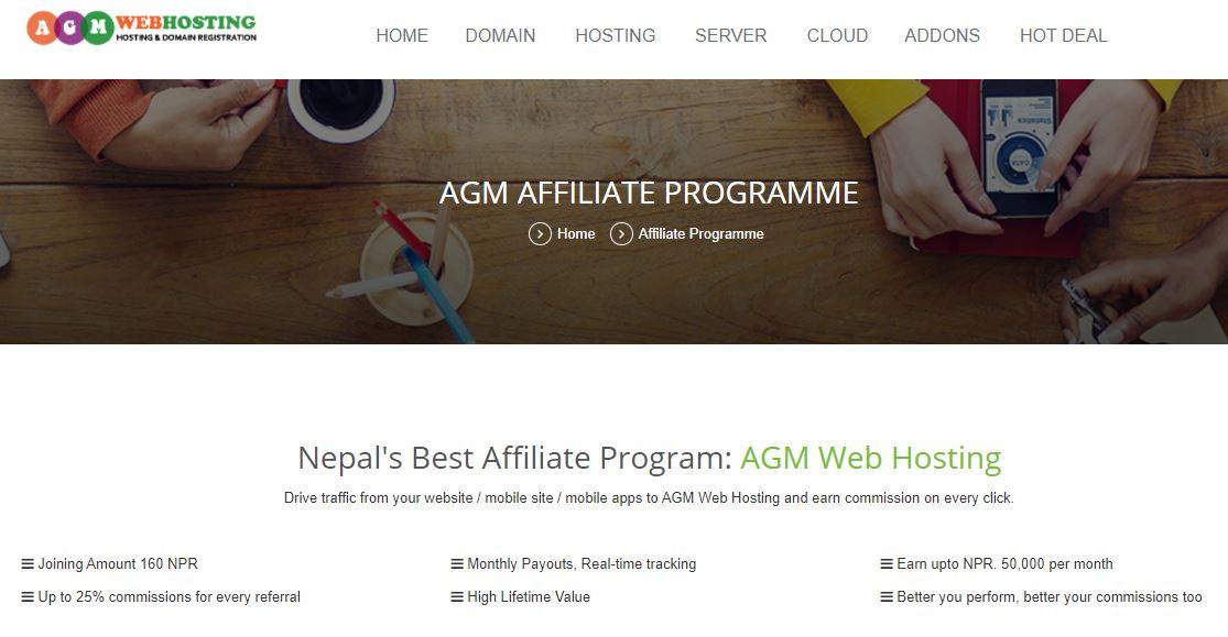 AGM Web hosting Nepal Affiliate programme